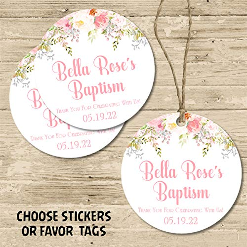Girls Spanish Pink Floral Rose First Holy Communion Sticker Labels or Favor Tags, Girls Baptism Favor Tags, Girls Christening Supplies, Girls Baby Dedication Decor, Pink Floral Spanish Baptism Favors