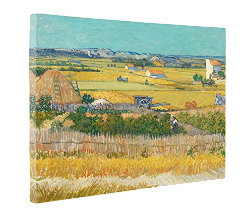 Gogh Van Vincent Harvest (Niwo Art (TM) - The Harvest, by Vincent van Gogh - Oil painting Reproductions - Giclee Canvas Prints Wall Art for Home Decor, Stretched and Framed Ready to Hang (20 x 24 x 1.5 Inch))