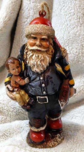Santa Claus Fireman Fire & Rescue Ornament Polyresin 5 1/2 inches