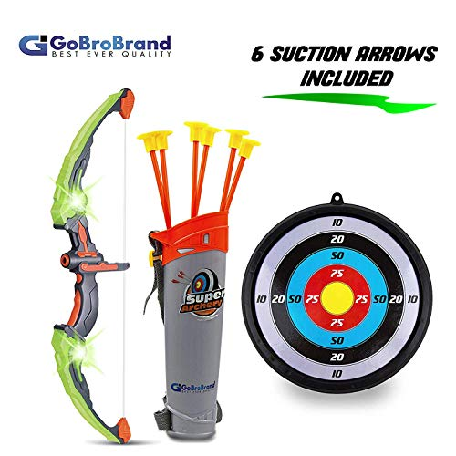 GoBroBrand Bow Arrow Set Kids -Green Light Up Archery Toy Set -Includes 6 Suction Cup Arrows, Target & Quiver Boys & Girls Ages 3 -12 Years Old -