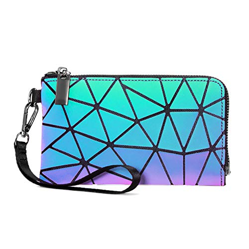 Geometric Luminous Wallet Purses for Women Holographic Wristlets Bag Lattice Reflactive Clutch Bag