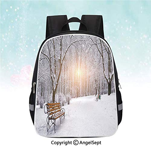 Woodland Nylon Parka - Nylon Fabric Backpack,Snow Covered Leafless Trees and Benches in the City Park Sunset Woodland Outdoors Decorative,13