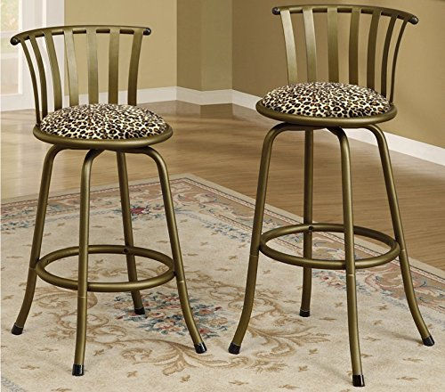 New Bronze Finish 24'' or 29'' Seat Height Bar Stool featuring Cheetah Animal Print themed seat cushion! by The Furniture Cove