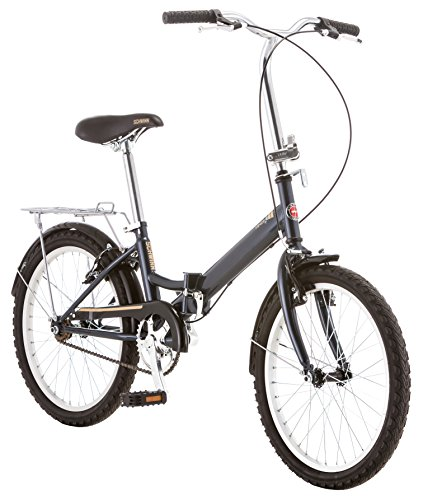 Schwinn Hinge Folding Bike, Great for Urban Riding and Commuting, Features Step-Through Steel Frame, Single-Speed Drivetrain, Front and Rear Fenders, Rear Rack, Carrying Bag, and 20-Inch Wheels, Grey