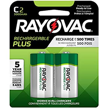 Amazon.com: Rayovac Rechargeable C Batteries, High