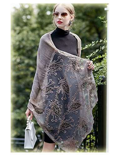 ap Scarf In Solid Colors Spring Winter Soft Lightweight Lace Flowers Scarves (Khaki) ()