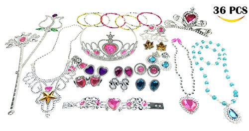 Princess Jewelry Dress Up Accessories Toy Playset for Girls (36 Pieces) (Little Girls Dress Up)