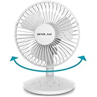 OPOLAR First Oscillating Mini Fan, AA Battery (not included) Operated or USB Powered, Portable Table Fan, 3 Speeds, Adjustable Head, Enhanced Airflow and Low Noise, Personal Office Fan for Home-White