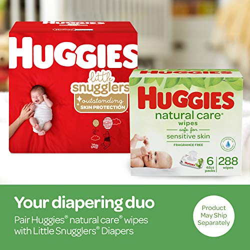 Huggies Brand Bundle - Huggies Little Snugglers Diapers, Size Newborn, 84 Ct & Huggies Natural Care Unscented Baby Wipes, Sensitive, 6 Disposable Flip-Top Packs - 288 Total Wipes (Packaging May Vary)