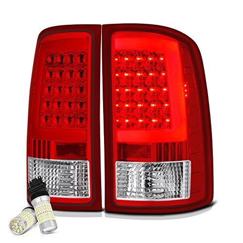 [Full SMD LED Backup Bulbs] VIPMOTOZ Neon Tube LED Tail Light Lamp Assembly For 2007-2013 GMC Sierra 1500 2500HD 3500HD - Rosso Red Lens, Driver and Passenger Side