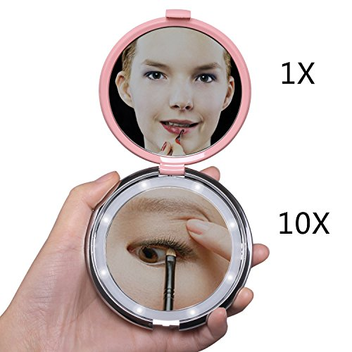 Compact Makeup Mirror,FushoP Small Makeup Mirror 1x/10x Magnifying Mirror Led Mirror Portable Travel Makeup Mirror Lighted Magnified Mirror Hand Held Magnifying Mirror Folding(Pink)