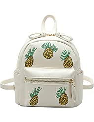 YSMYWM Womens PU Leather Embroidery Pineapple Backpack School Satchel Shoulder Bag