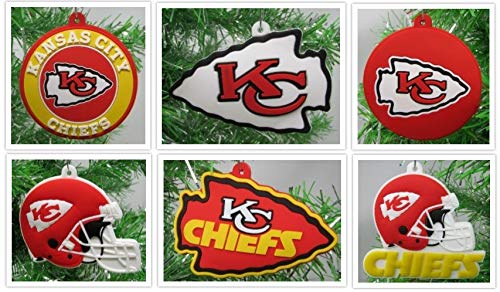 Kansas City Chiefs Set of 6 Holiday Christmas Tree Ornaments Featuring Chiefs Team Ornaments - Unique Shatterproof