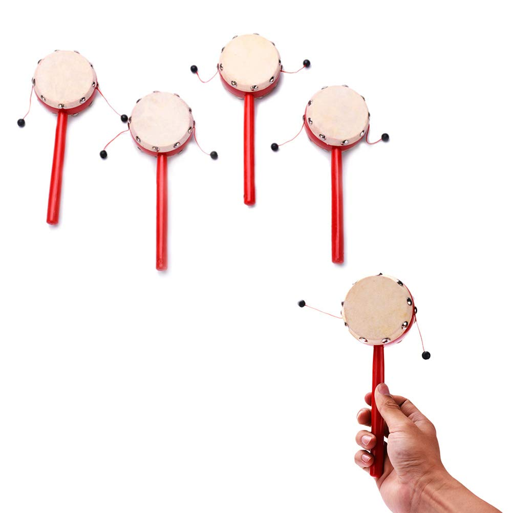 YeahiBaby Hand Shaking Drum Toy Sheepskin Drumhead Rattle Balance Drum Wooden Red 7cm Early Educational Traditional Toy Musical Instruments for Kids 2pcs-Random Pattern