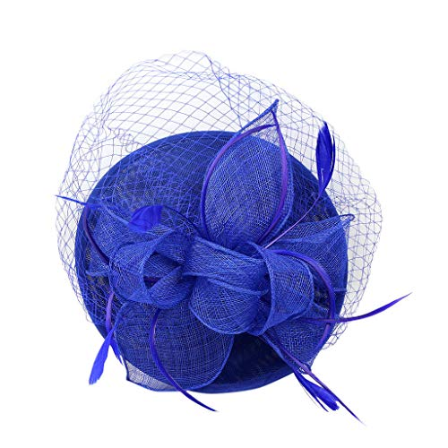 TIANMI Handmade Women Hair Clip Wedding Casual Fascinator Large Hat Headpieces Blue from TIANMI Headband
