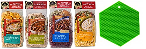 Frontier Soups Hearty Meals for Winter: Illinois Prairie Corn Chowder, Colorado Campfire Chicken Stew, Michigan Ski Country Chili, and Dakota Territory Beef Barley Bean Stew Plus Silicone Pot Holder