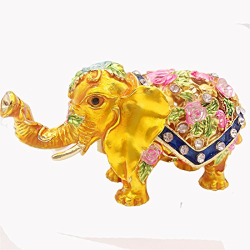 Waltz&F Enamel Elephant Trinket Box Hinged Crystal Studded Pewter Animal Figurine Jewelry Box with Gift Box ()
