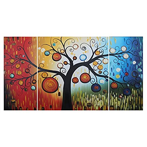 Ode Rin   100% Hand Painted Oil Painting On Canvas Fantasy Colorful Dots  Tree Framed 3 Pieces Wall Art Abstract Painting For Living Room Decor, ...