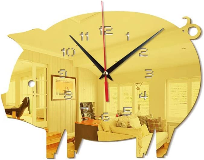 Amazon Com 21 King Acrylic Wall Clock Wall Decoration Wall Clock Wall Charts Mute Mirror Wall Clock Gold Home Kitchen