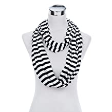 Soft Striped Infinity Loop Jersey Scarf, Black/White