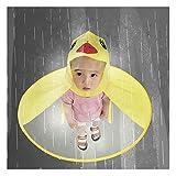 IdealPlast Cute Rain Coat UFO Children Umbrella Hat Magical Hands Free Raincoat (Yellow Dark, S)
