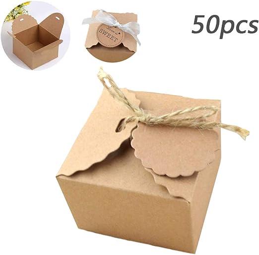 50PCS Cajas Kraft Marrón De La Regalos, Caja De Regalo Hecha De ...