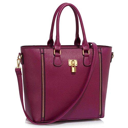 Leesun London Damen Kunstleder Handtaschen Große Drei Fächern Frauen Designer Taschen Tote Schulter Taschen H - Bourgogne f5gRypL