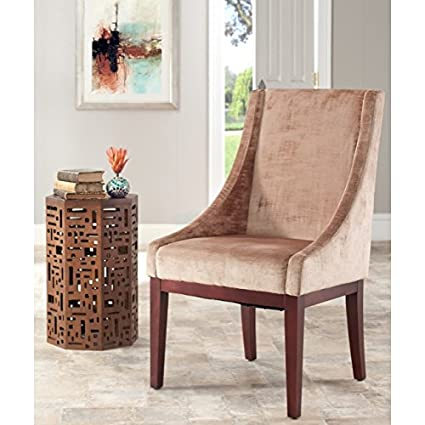 Safavieh Mercer Collection Mario Velvet Arm Chair Dark Champagne