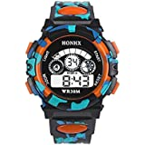Outdoor Boys Girl Multifunction Waterproof Sports Electronic Watch ???????? ???? D Orange