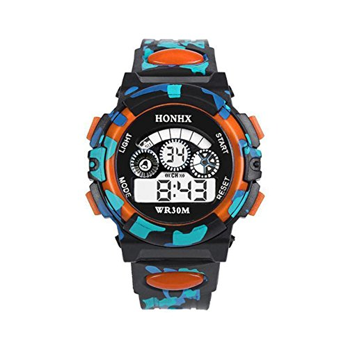 Price comparison product image Outdoor Boys Girl Multifunction Waterproof Sports Electronic Watch   D Orange