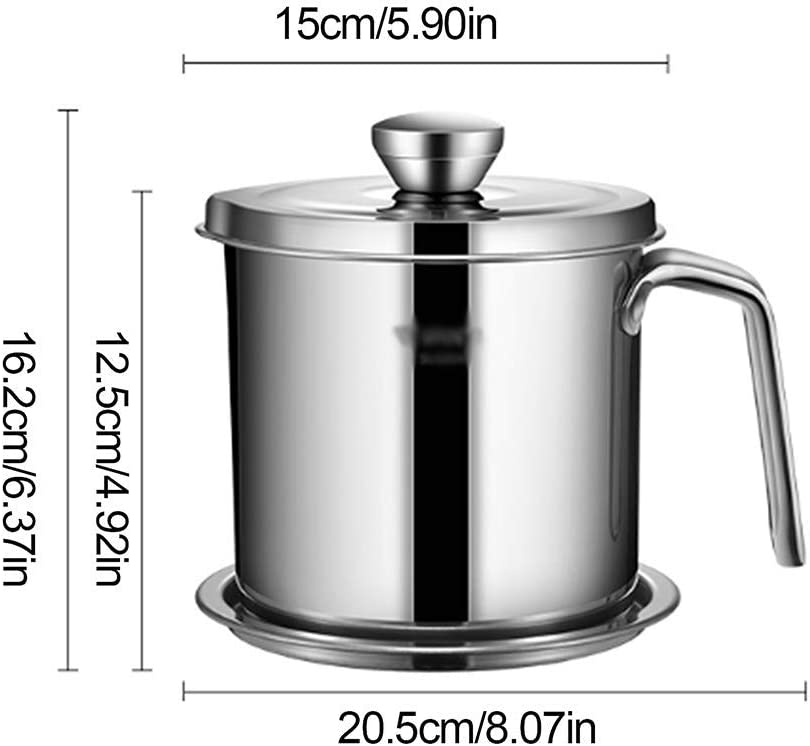 Stainless Steel 1.3L Oil Filter Storage Can Grease Strainer Pot Containerv W//Lid