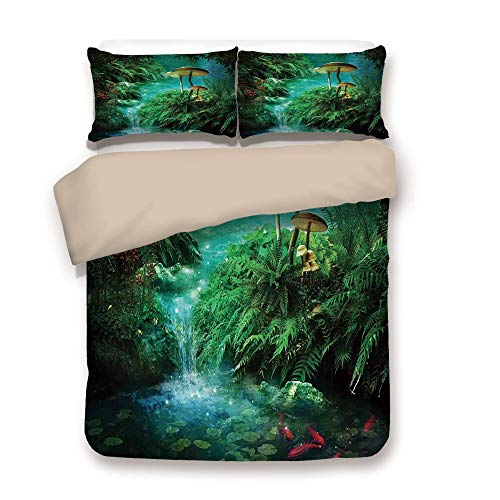 Jungle Fish Conditioner - Duvet Cover Set,Back of Khaki,Fantasy Decor,View of Fantasy River with a Pond Fish and Mushroom in Jungle Trees Moss Eden,Green Teal Red,Decorative 3 Pcs Bedding Set by 2 Pillow Shams,Full
