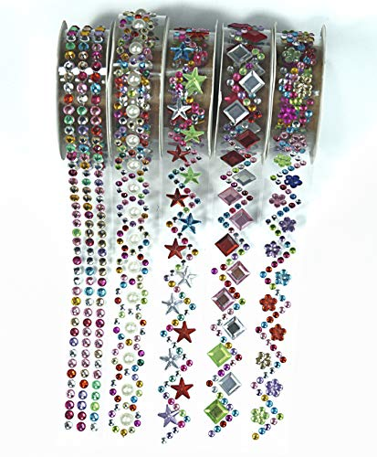 ALL in ONE 5 Rolls Mixed Color 3/4 Acrylic Rhinestone Lace Washi Tape for Gift Wrapping Decoration, Scrapbooking, Holiday, Party, DIY