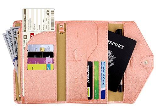 Zoppen Multi-purpose Rfid Blocking Travel Passport Wallet (Ver.4) Tri-fold Document Organizer Holder (#30 Coral Orange)