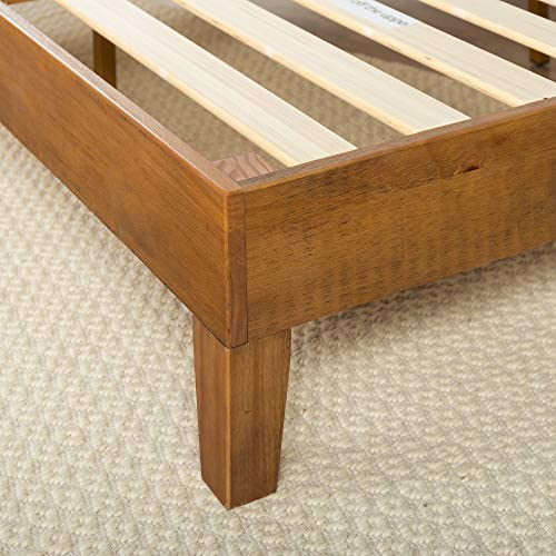 ZINUS Alexis Deluxe Wood Platform Bed Frame / Solid Wood Foundation / No Box Spring Needed / Wood Slat Support / Easy Assembly, Rustic Pine, Queen 51V55l87D1L