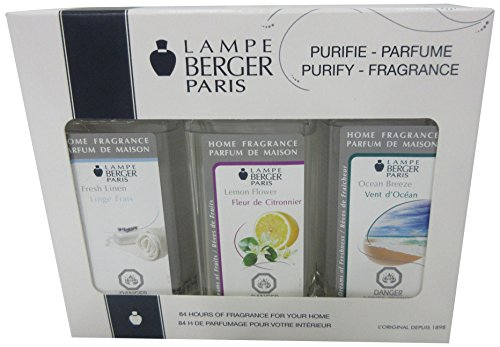 Lampe Berger Fragrance Trio Pack Fresh , Fresh Linen-Lemon Flower-Ocean Breeze, 3 x 180ml / 6.08 fl.oz
