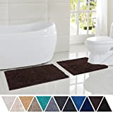 DEARTOWN Bathroom Rug Toilet Sets and Shaggy Non Slip Machine Washable Soft Microfiber Bath Contour Mat (Brown,32'' 20''/24'' 20'' U-Shaped)