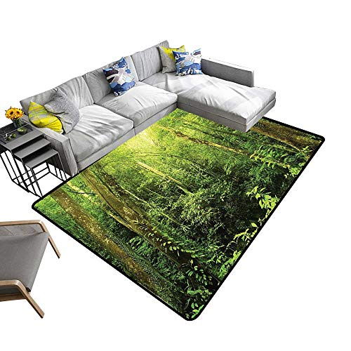 alsohome Multi-Color Modern Area Rug Tropical Rainforest Landscape Malaysia Asia Green Tree Trunks Uncultivated Wood Green Non Slip Absorbent Super Cozy 5' X 8' (Best Robot Vacuum Cleaner Malaysia)