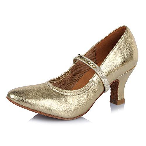 Strass DE Tanzschuhe Damen Modern SWDZM Modell Satin Schuhe Latin Dance Ballsaal 305 Gold Standard Modern AS4Ux7wzq
