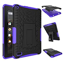 Fire 7 inch Case,YiLin [Purple] [Shock Absorbent] Premium Dual Layer Defender Protective Rugged Cover with Kickstand for Amazon Fire 7'' Tablet 2015 Version