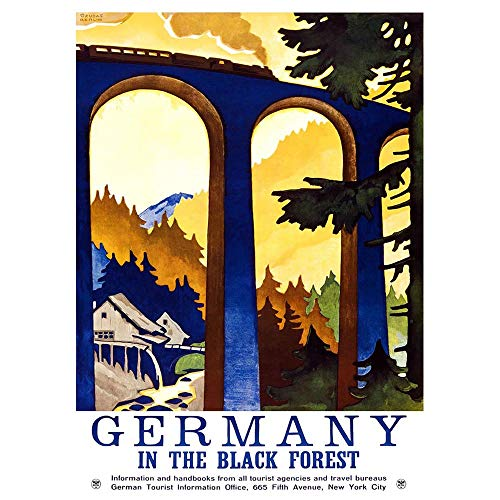 Wee Blue Coo Travel Black Forest Germany Viaduct Train USA Vintage Advertising Unframed Wall Art Print Poster Home Decor Premium