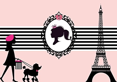Funnytree 7X5ft Polyester Pink Paris Eiffel Tower Themed Backdrop Girl Sweet 16 Oh La La Birthday Party Decorations Stripes Poodle Photography Background Photo Booth Props]()