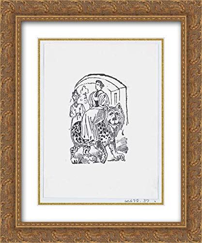 - Jose Sanchez - 20x24 Gold Ornate Frame and Double Matted Museum Art Print - A Woman Riding on The Back of a Tiger