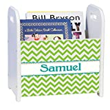 Personalized Lime Chevron White Book Caddy and Rack