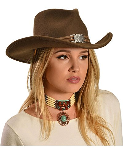 Master Hatters Women's Juniper Wool Felt Cowgirl Hat Brown Large