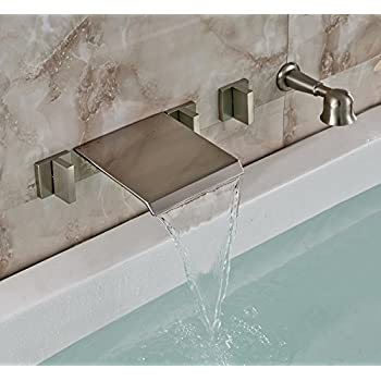 Rozin Brushed Nickel Wall Mounted Waterfall Bathtub Mixer Faucet Tap With  Handheld Shower
