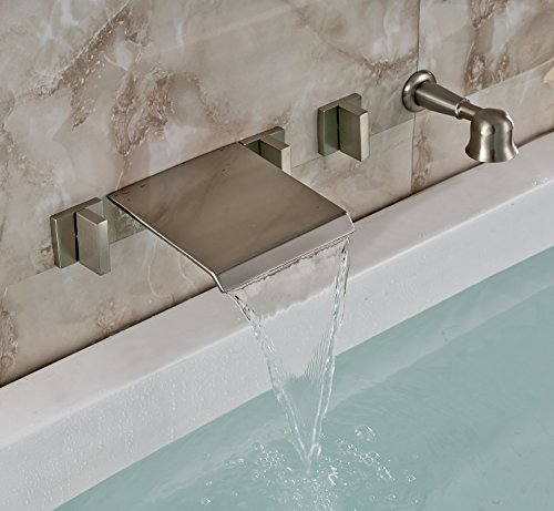 Rozin Brushed Nickel Wall Mounted Waterfall Bathtub Mixer Faucet Tap with Handheld Shower - Nickel Wall Bath