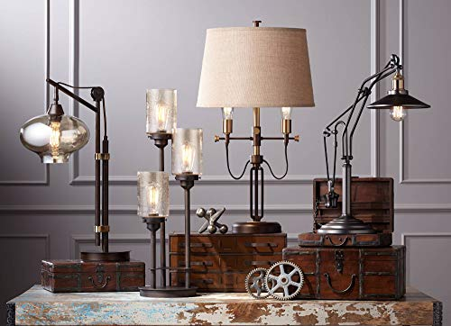 Calyx Industrial Desk Table Lamp Antique Bronze Brass Cognac Glass Shade Edison Style for Living Room Bedroom Office - Franklin Iron Works by Franklin Iron Works (Image #2)
