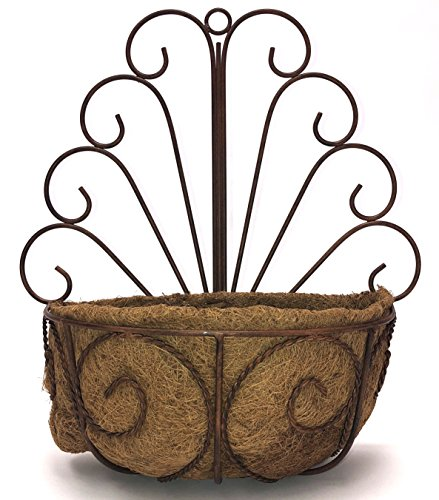 Deer Park WB107 Peacock Wall Basket with Cocoa Moss Liner Deer Park Deer Planter