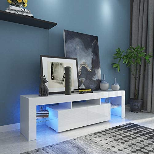 Fitnessclub Contemporary TV Cabinet is for TVs up to 65″,High Gloss LED Entertainment Center w/Storage & 2 Drawers for Living Room Bedroom Furniture White